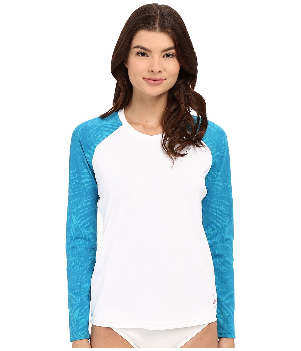XCEL Wetsuits - Waimea Scoop Neck UV Long Sleeve (White Print) Women's Swimwear