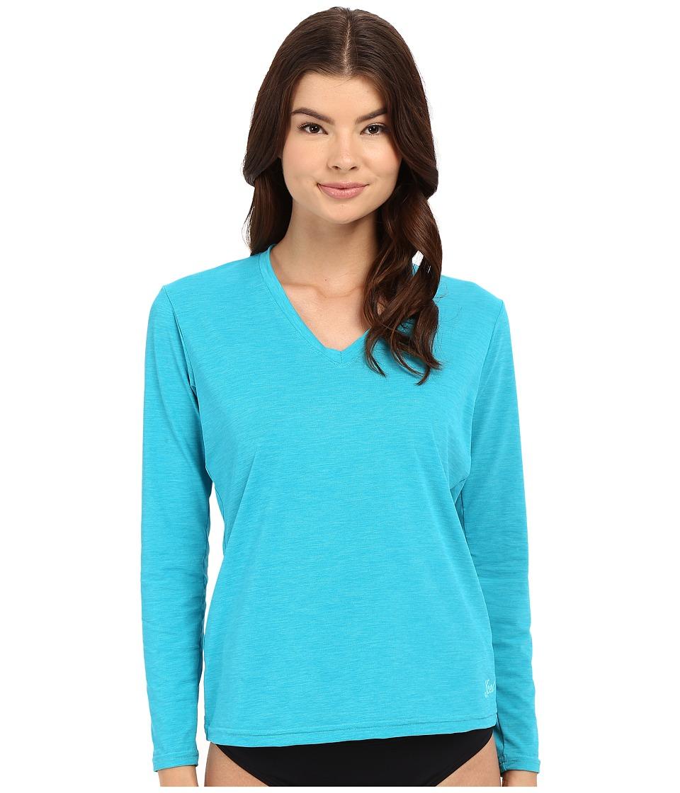 XCEL Wetsuits - Pupukea V-Neck UV Long Sleeve (Heather Lake Blue) Women's Swimwear