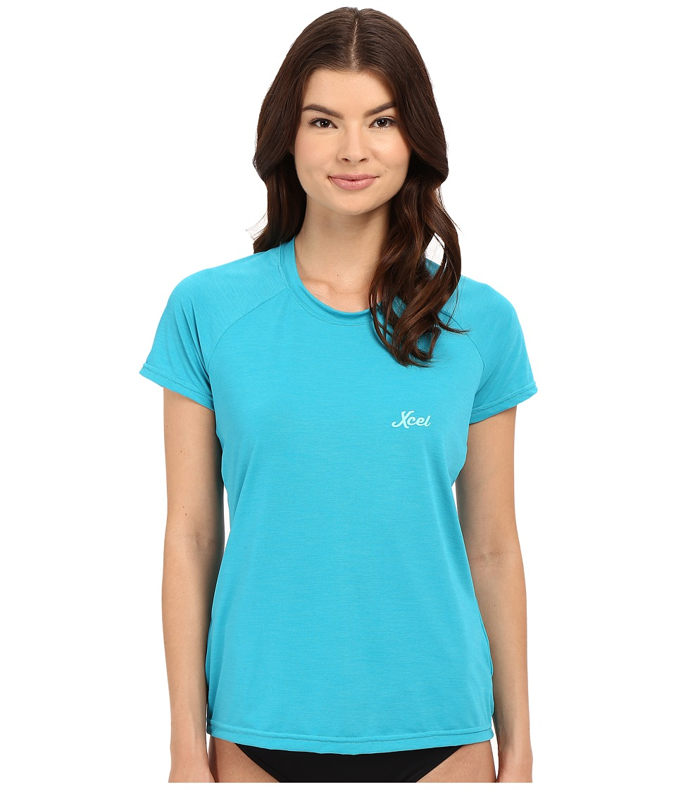 XCEL Wetsuits - Laniakea Scoop Neck UV Short Sleeve (Heather Lake Blue) Women's Swimwear