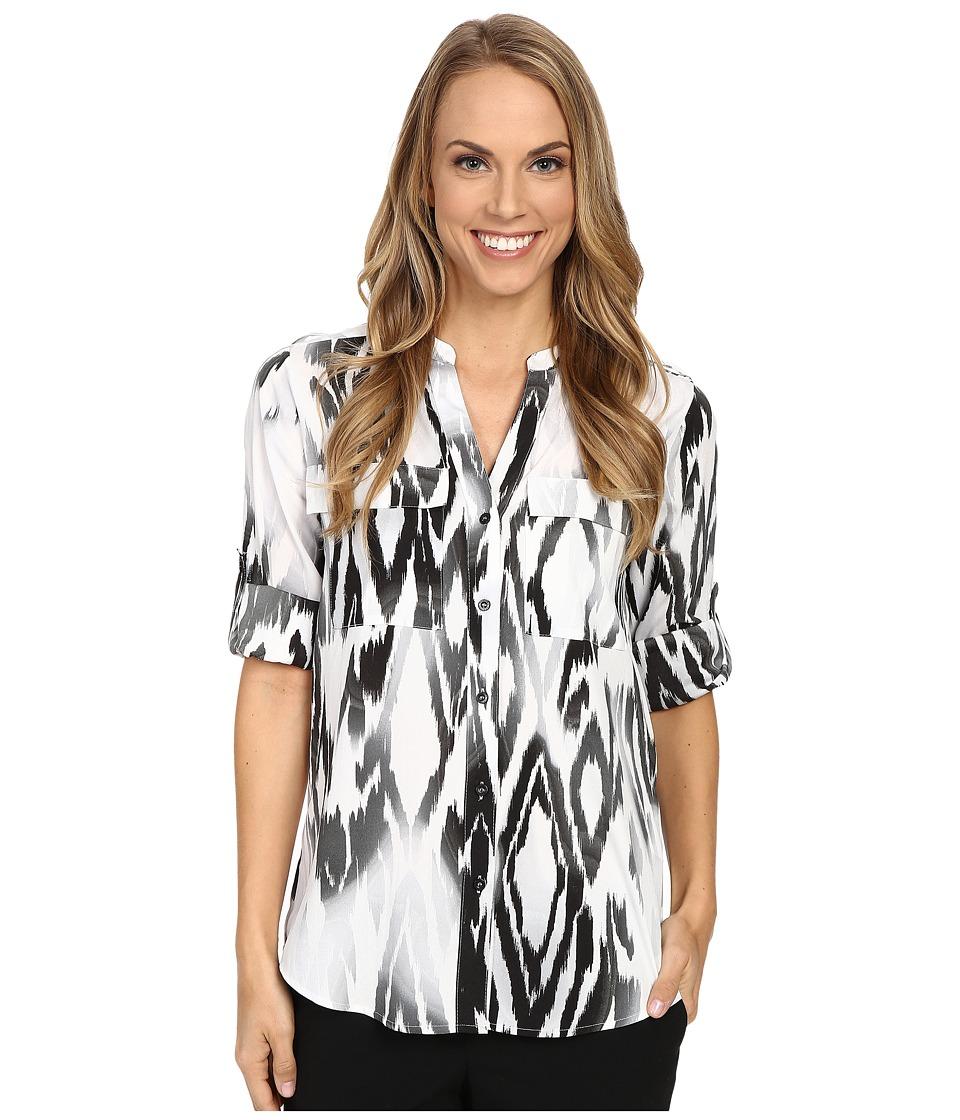 Calvin Klein - Print Roll Sleeve Blouse (Black Combo) Women's Blouse