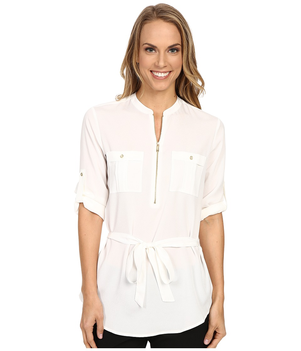 Calvin Klein - Tunic Blouse with Belt (Soft White) Women's Blouse
