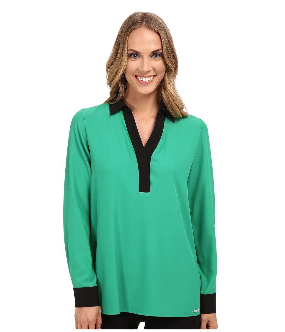 Calvin Klein - Long Sleeve w/ Contrast Collar Cuff (Grass) Women's Blouse