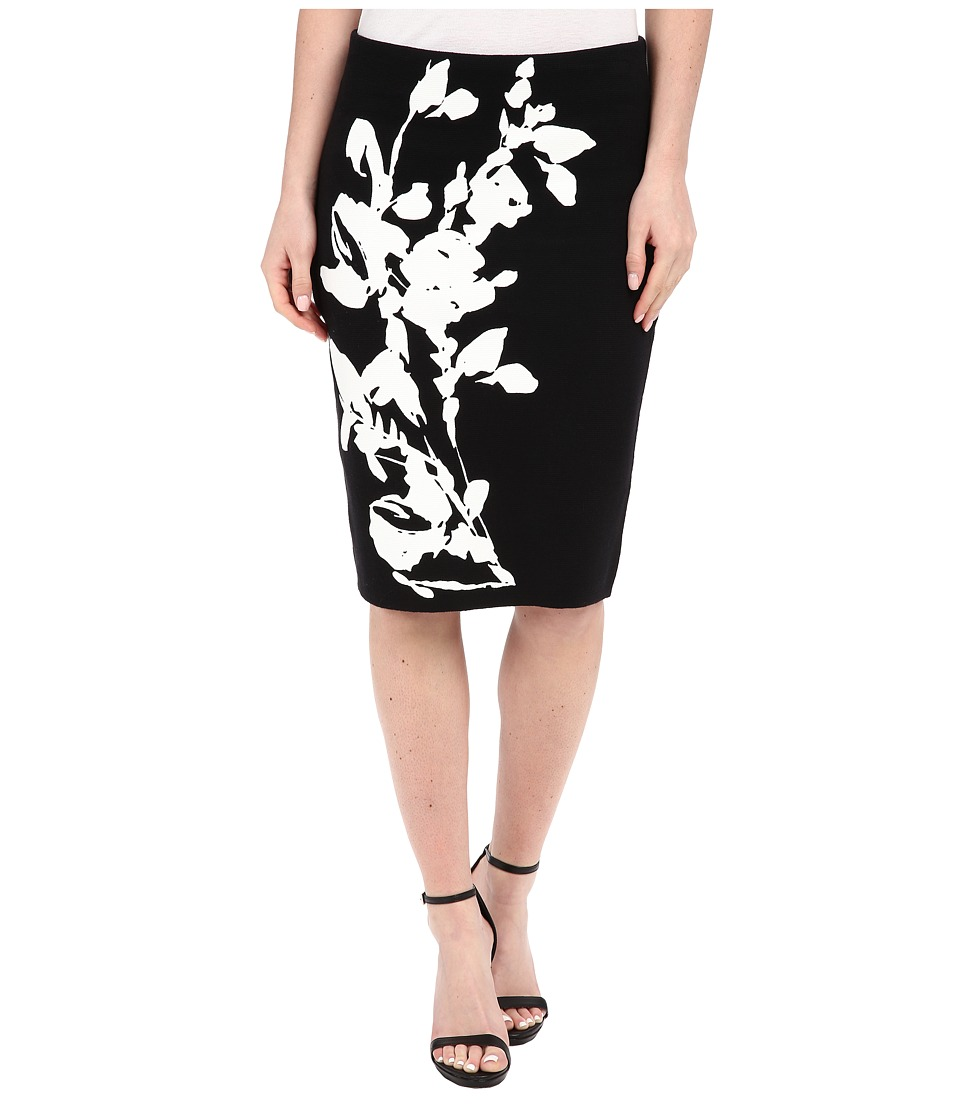 Calvin Klein - Printed Sweater Skirt (Black Floral) Women's Skirt