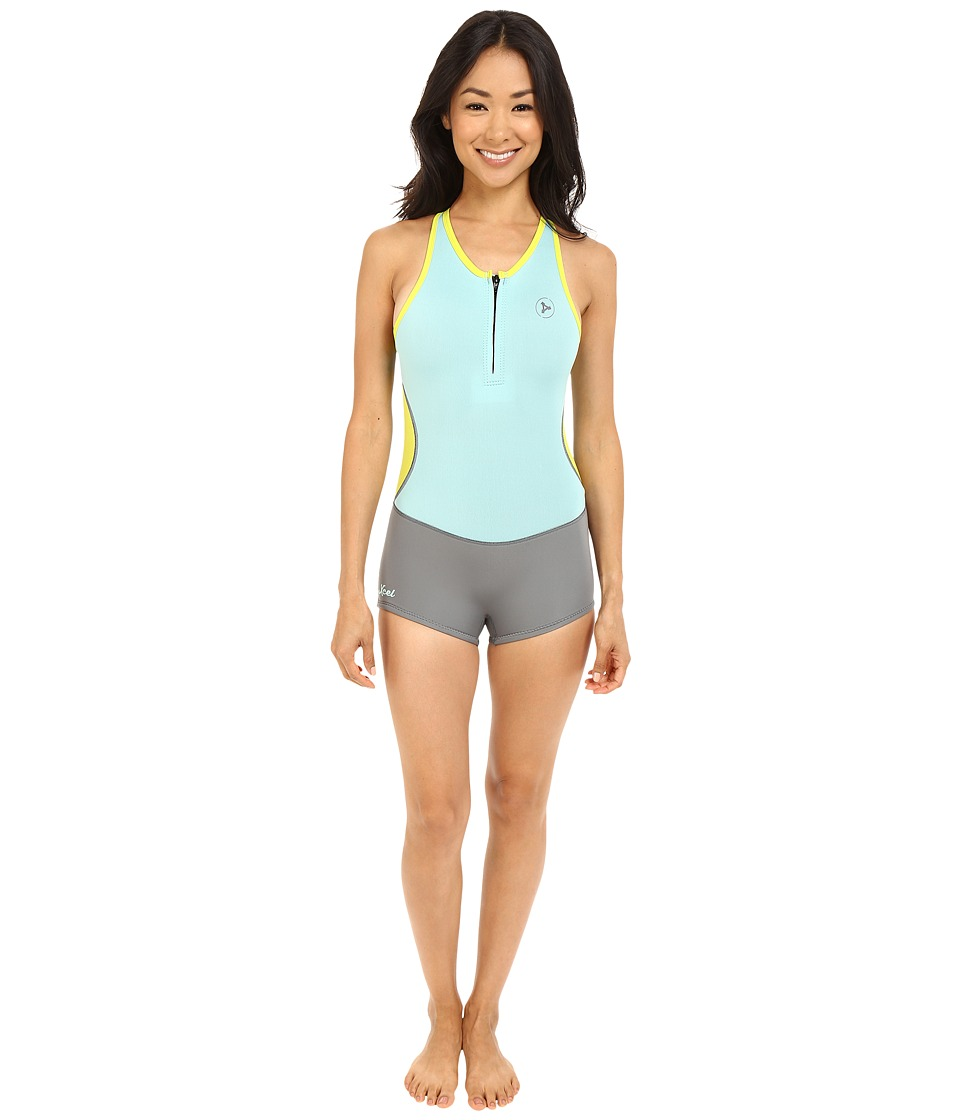 XCEL Wetsuits - Lihue Boy Cut Cross Back Shorty 1mm Wetsuit (Honey Dew/Grey/Lemon Ale) Women's Wetsuits One Piece