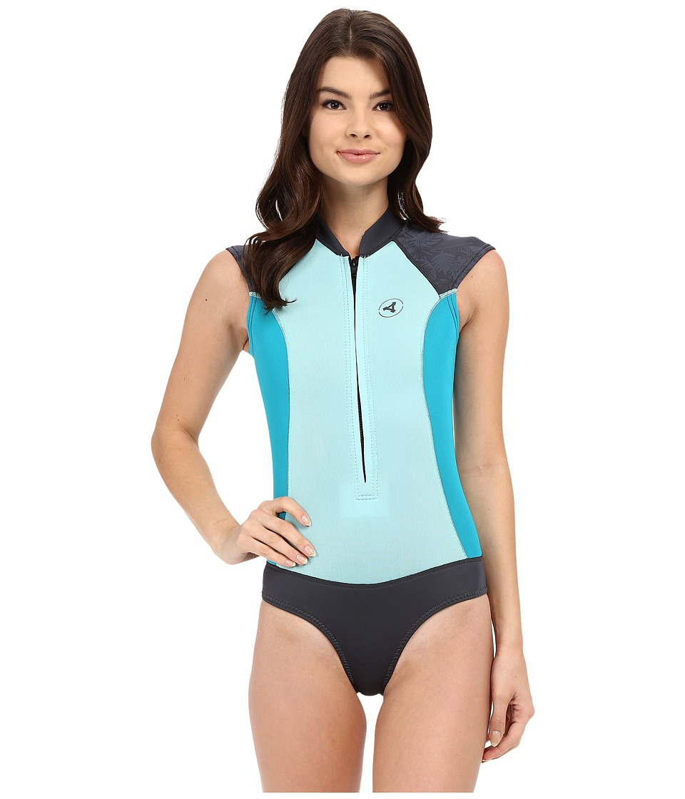 XCEL Wetsuits - Kona Cheeky Bikini Cut Cap Sleeve Shorty 2/1mm (Honey Dew/Lake Blue/Gunmetal) Women's Wetsuits One Piece