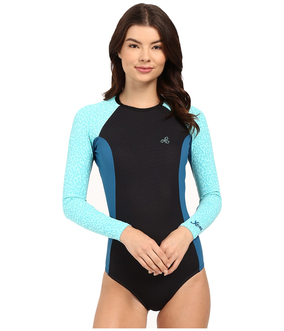 XCEL Wetsuits - Drylock Cheeky Bikini Cut Long Sleeve Springsuit (Black/Denim/Honey Dew) Women's Wetsuits One Piece