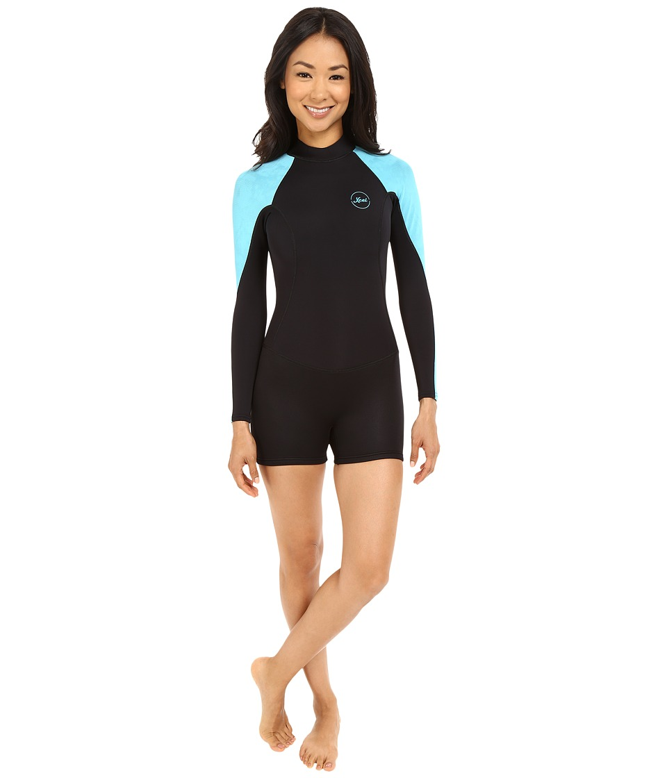 XCEL Wetsuits - Pahoa Back Zip Long Sleeve 2mm Springsuit (Black/Ocean Blue) Women's Wetsuits One Piece