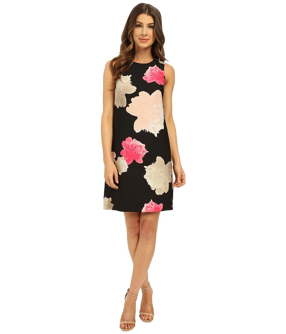Calvin Klein - Printed Mod Dress (Black/Hibiscus) Women's Dress