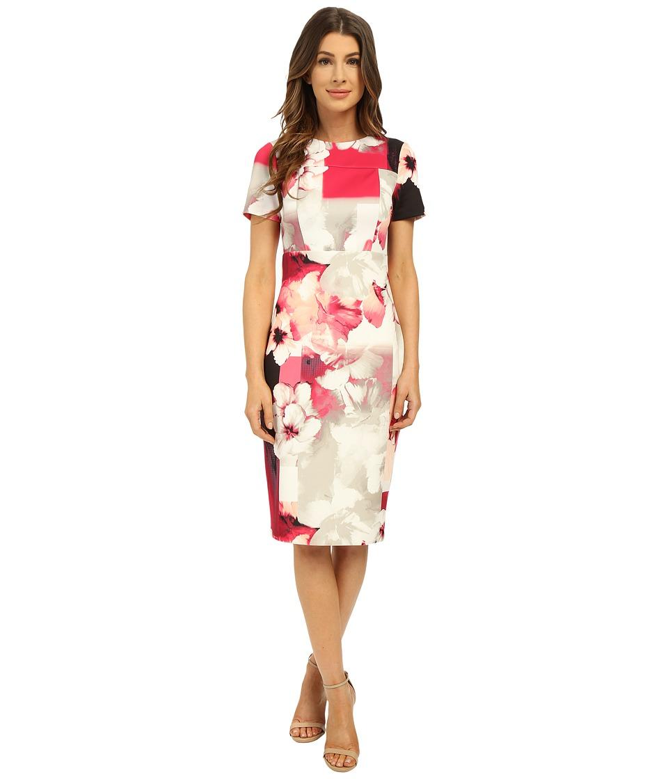 Calvin Klein - Print Sheath w/ Cap Sleeve (Hibscus Multi) Women's Dress