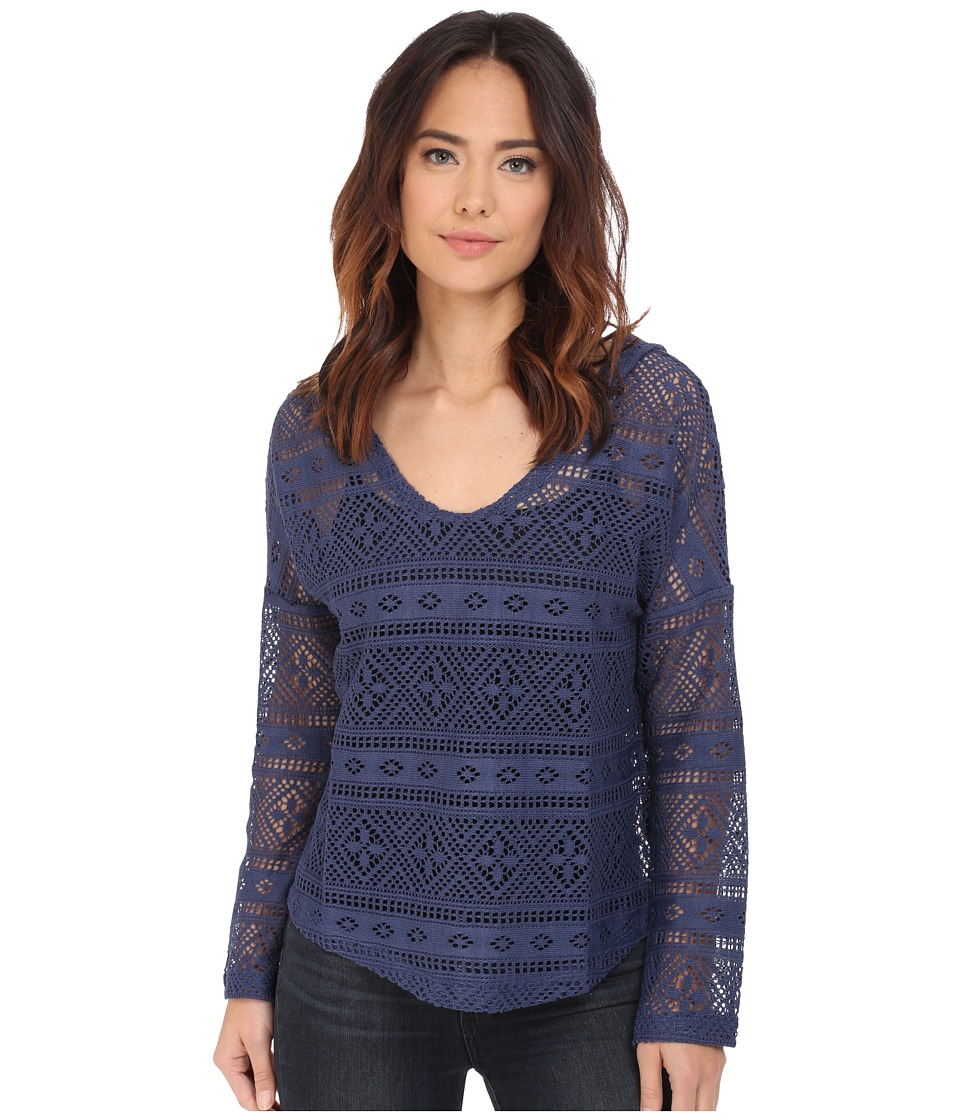 Dylan by True Grit - Crossroads Crochet Hoodie (Indigo) Women's Sweatshirt
