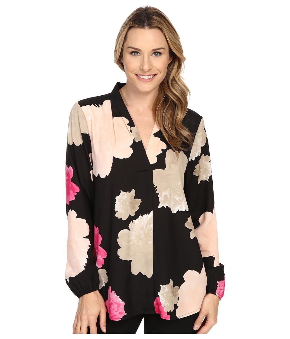 Calvin Klein - Printed Long Sleeve w/ Invert Pleat (Black/Hibiscus) Women's Blouse