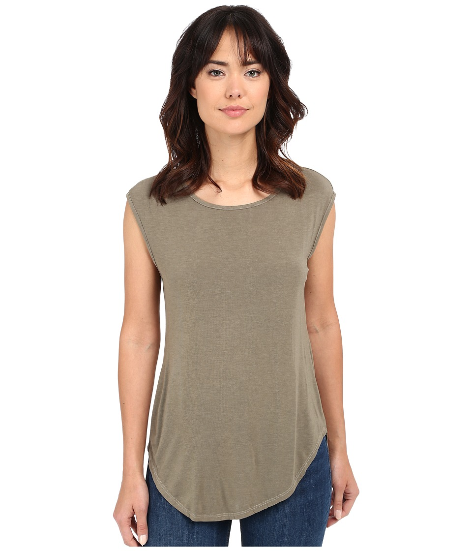 Michael Stars - Jersey Lycra Cap Sleeve Scoop Neck (Olive Moss) Women's Short Sleeve Pullover