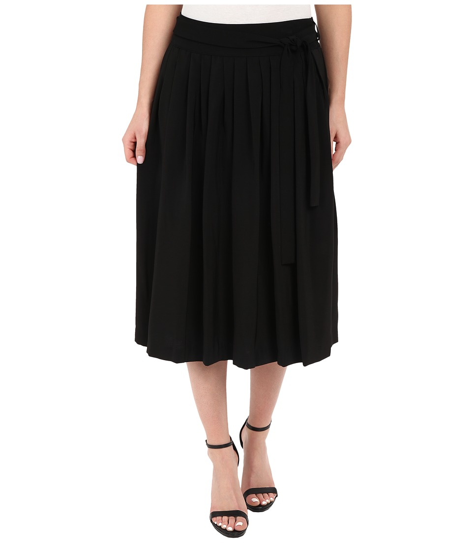 Calvin Klein - Pleat Midi Skirt w/ Tie (Black) Women