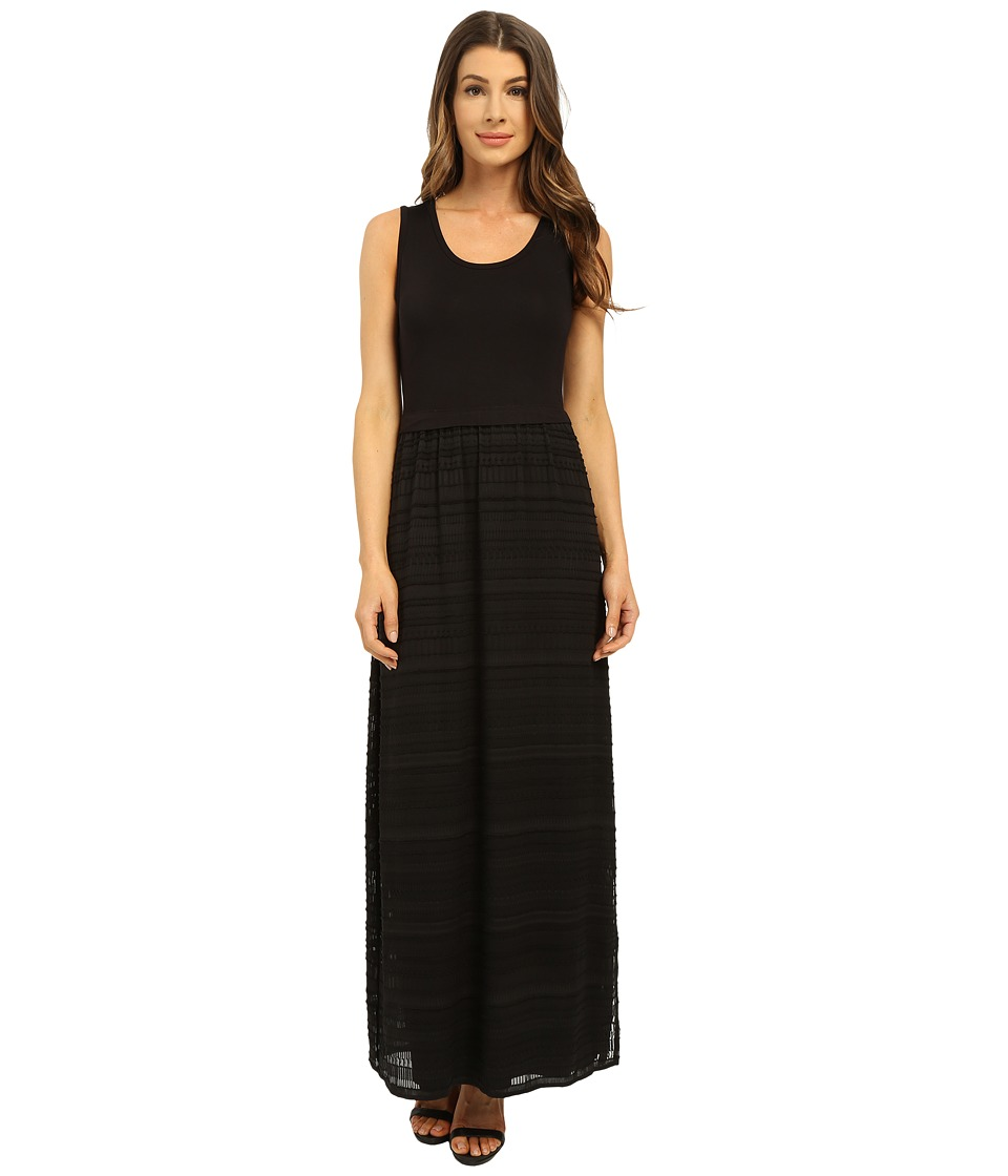 Calvin Klein - Maxi Dress w/ Chiffon Bottom (Black) Women's Dress