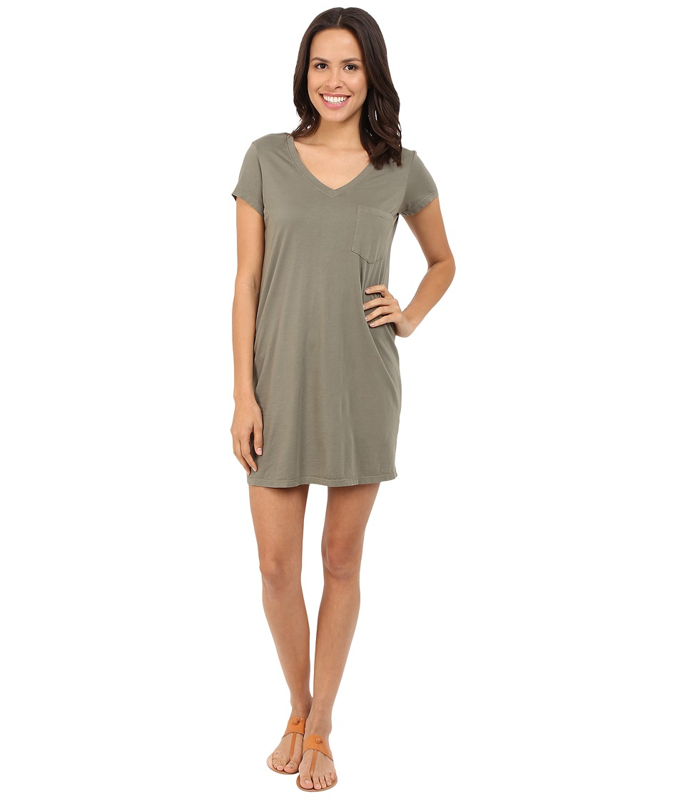 Michael Stars - Short Sleeve V-Neck Tee Dress (Olive Moss) Women's Dress