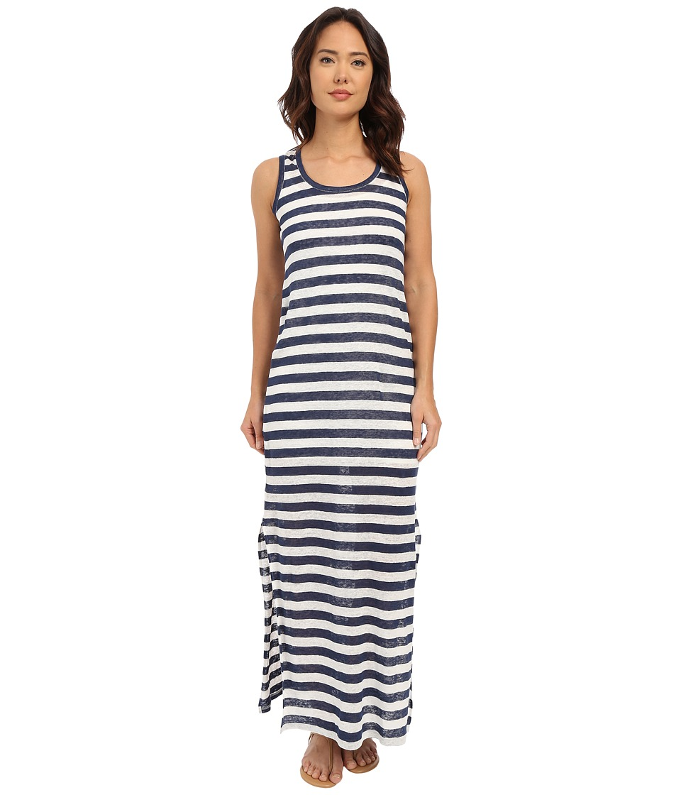 Michael Stars Linen Knit Stripe Maxi Dress (Nocturnal/White) Women