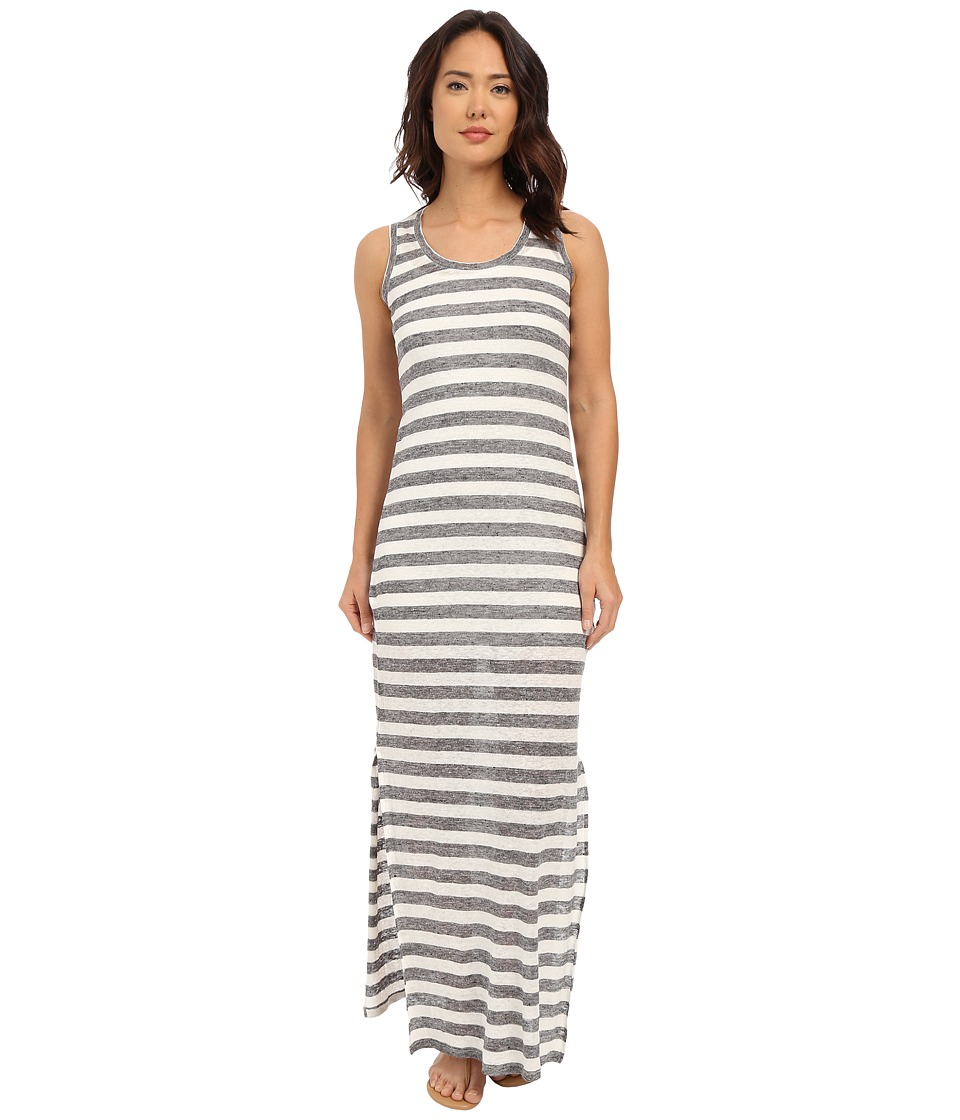 Michael Stars - Linen Knit Stripe Maxi Dress (Medium Heather Grey/White) Women's Dress