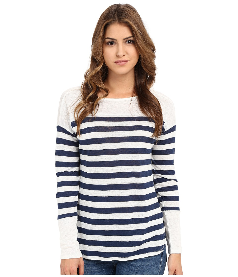 Michael Stars - Linen Knit Stripe Long Sleeve Boat Neck (Nocturnal/White) Women's Clothing