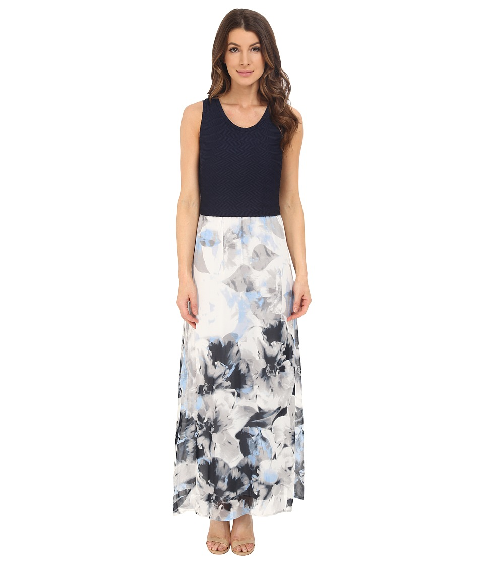 Calvin Klein - Printed Maxi w/ Chiffon Bottom (Dove/White) Women's Dress