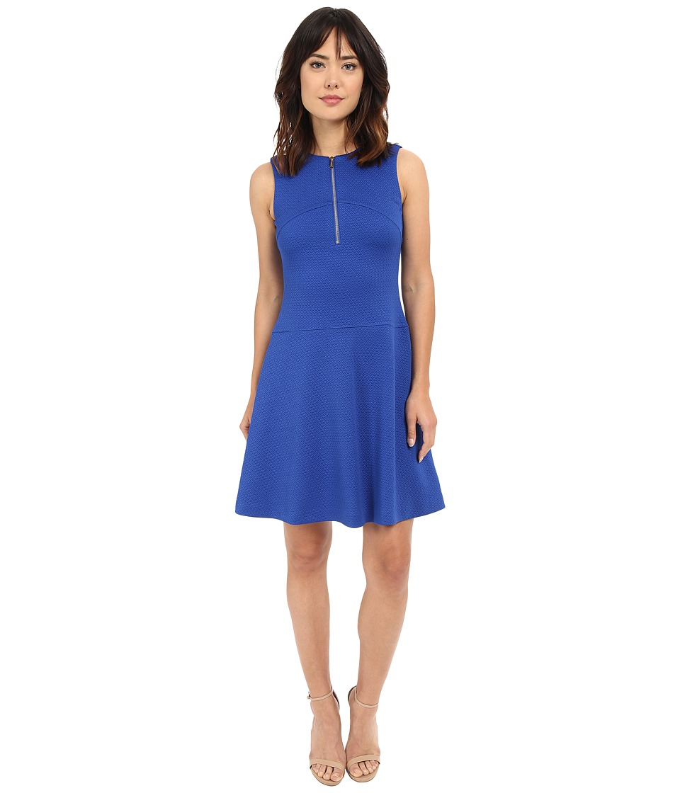 Calvin Klein - Textured Flare Dress w/ Front Zip (Regatta) Women's Dress