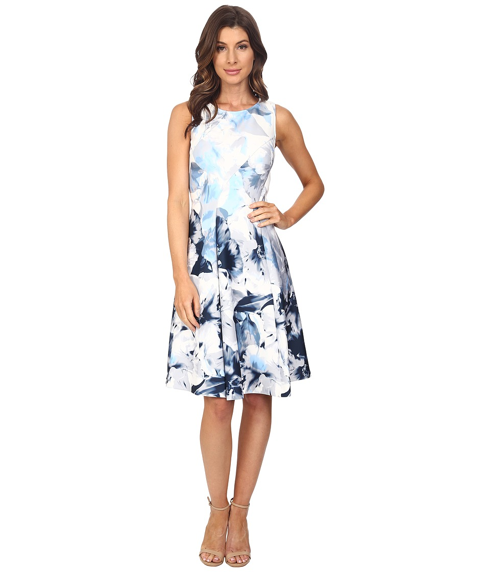 Calvin Klein - Print Seamed Flare Dress (Dove/White) Women's Dress