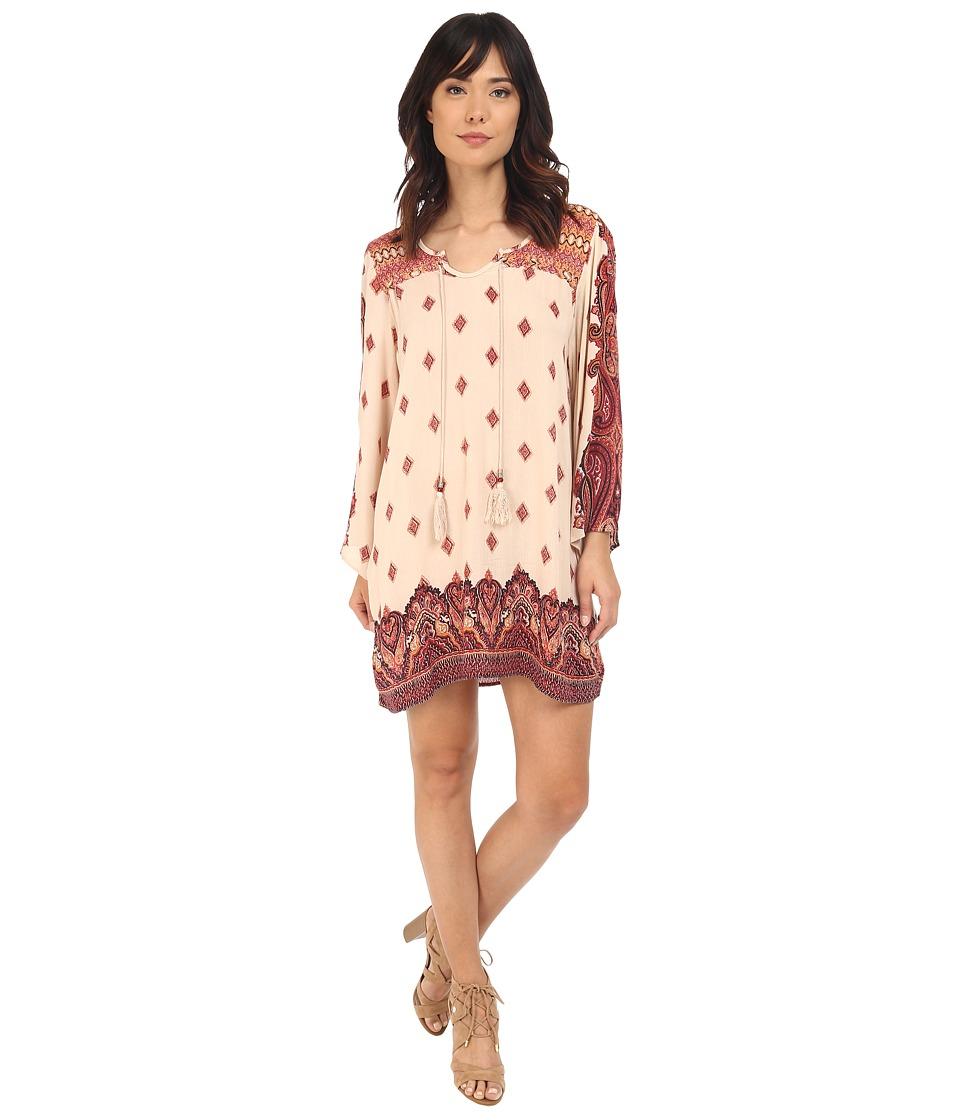 Brigitte Bailey Adalyn Long Sleeve Tassel Dress (Ivory/Coral) Women