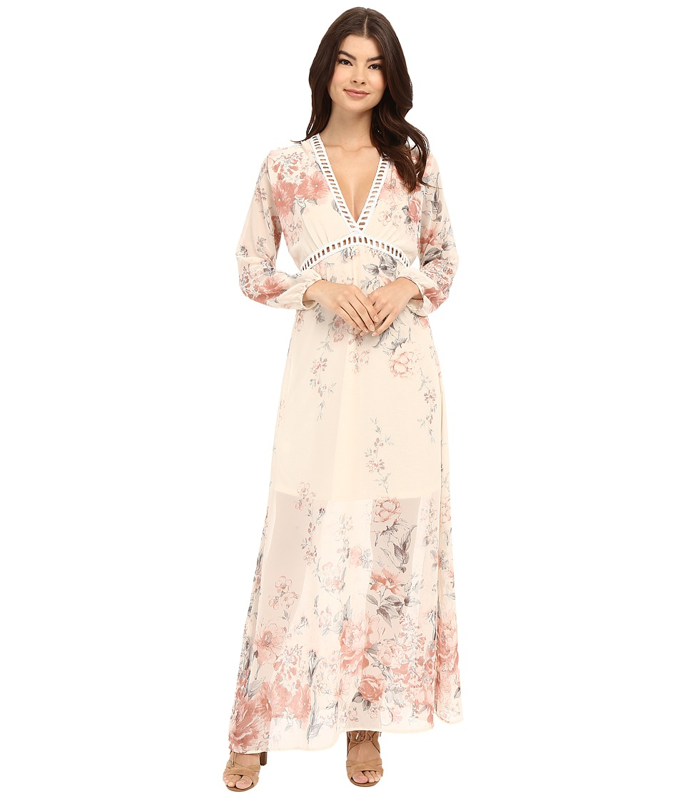 Brigitte Bailey - Isabella V-Neck Floral Maxi Dress (Ivory/Rose Floral) Women's Dress
