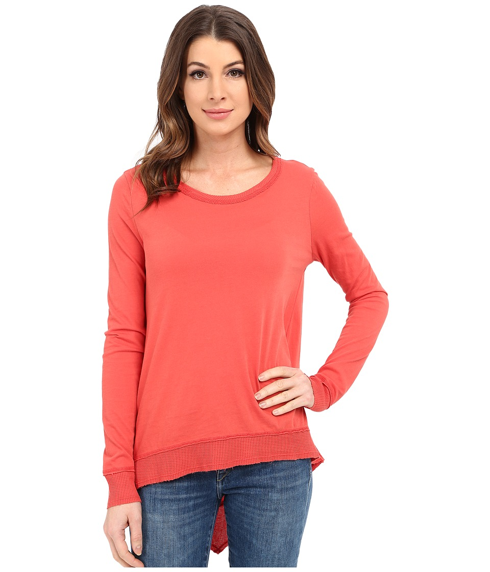 Dylan by True Grit - Soft Vintage Knit Long Sleeve Asymmetrical Crew (Washed Red) Women's Long Sleeve Pullover