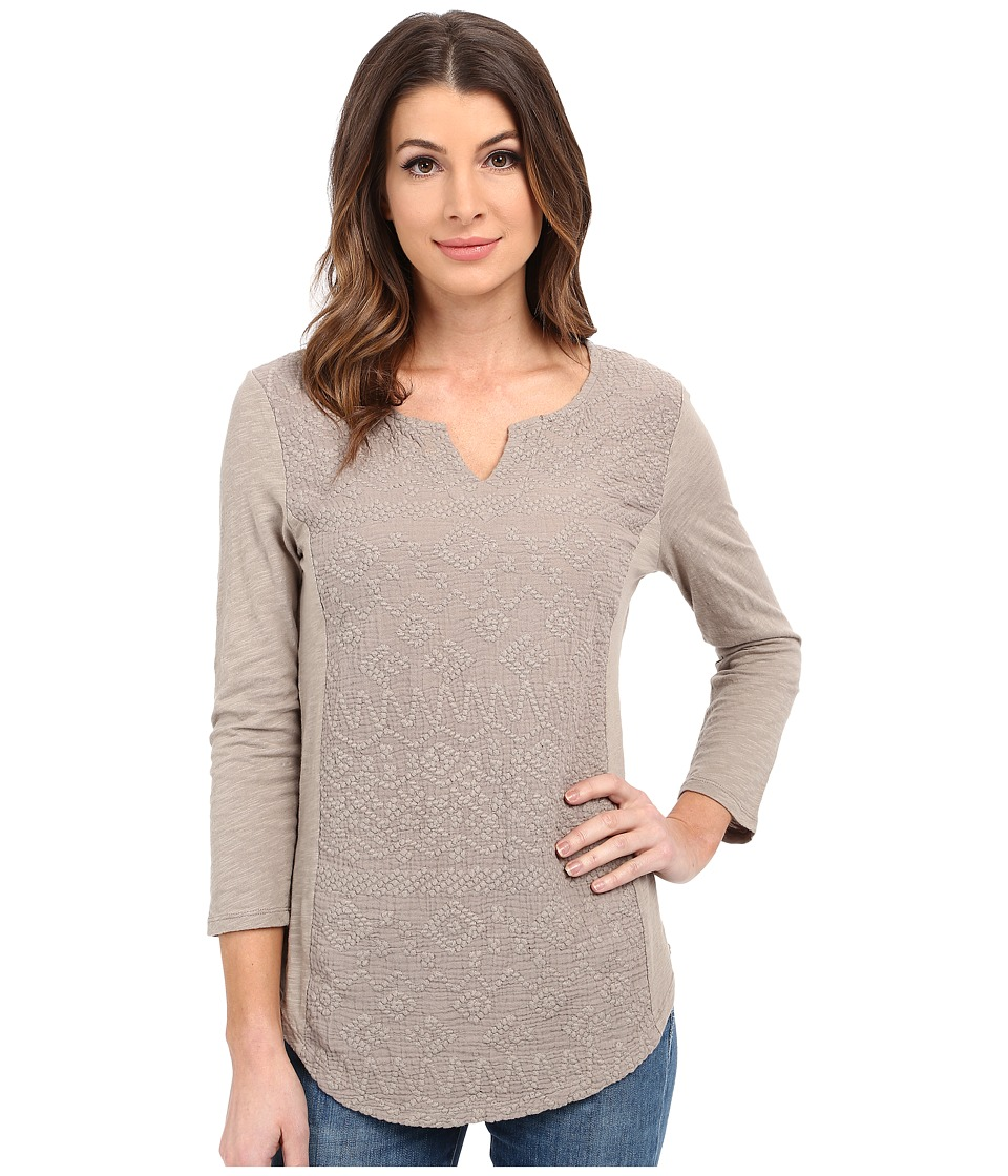 Dylan by True Grit - Soft Gauzy Cotton 3/4 Sleeve w/ Embroidery and Knit (Cargo) Women's Clothing