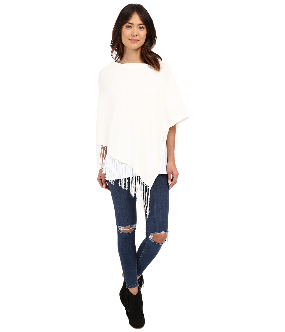 Dylan by True Grit - Fringe Sweater Poncho (White) Women's Coat