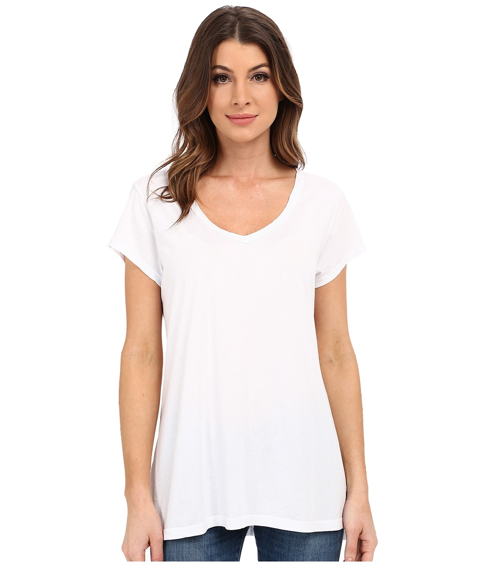 Dylan by True Grit - Luxe Cotton Modal Short Sleeve V Tee (Perfect White) Women's T Shirt