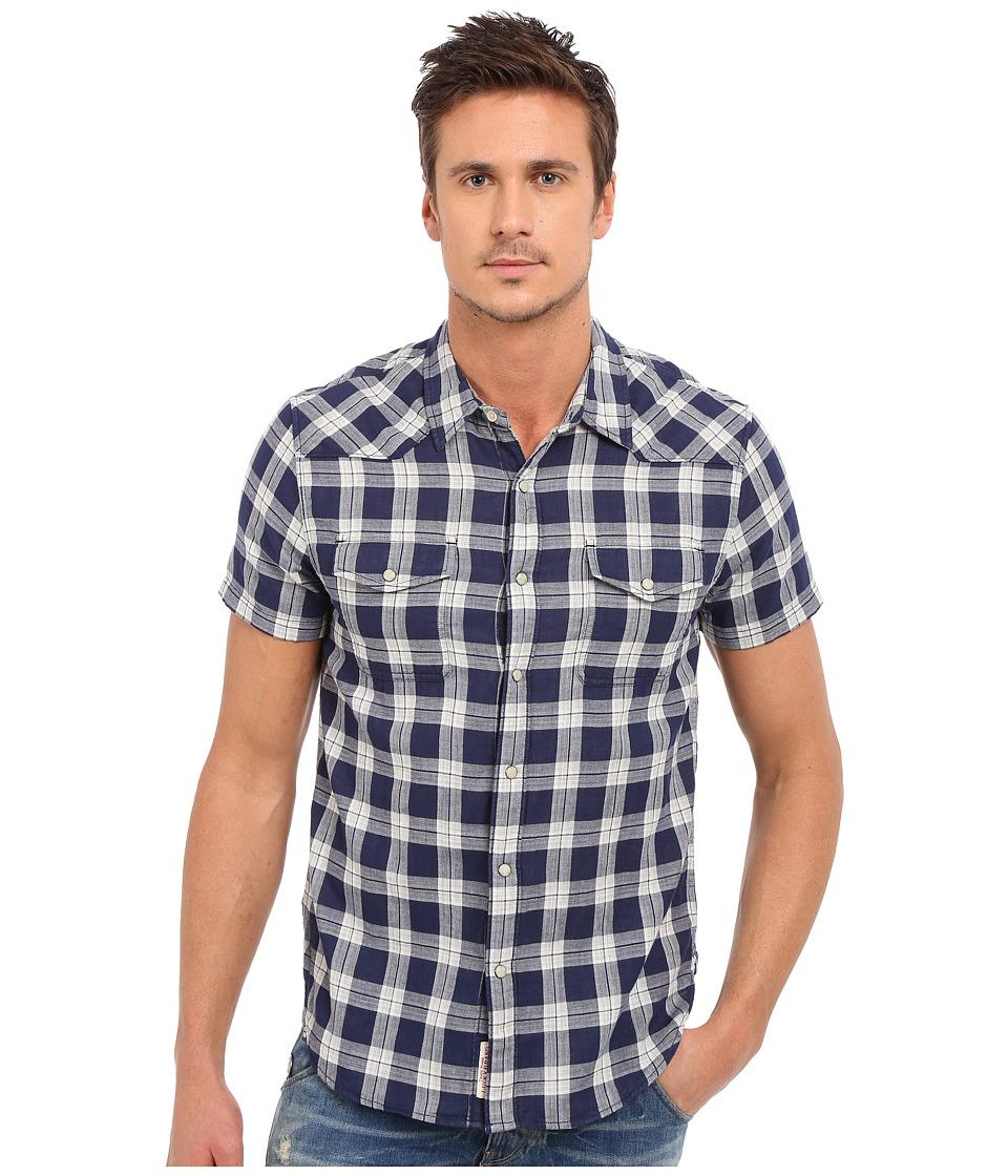 Lucky Brand - Short Sleeve San Berdu Shirt (Navy/Heather Grey) Men's Short Sleeve Button Up