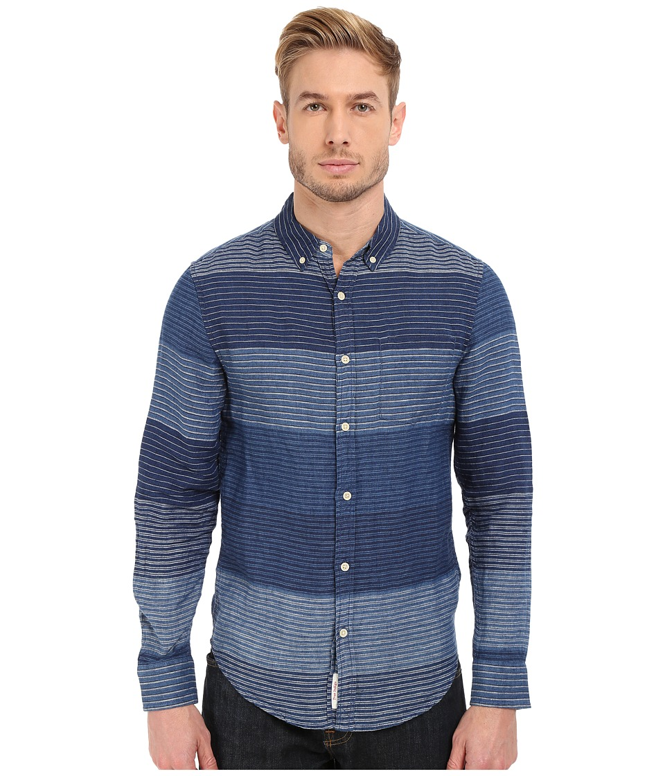 Lucky Brand - Blanket Stripe Linen Shirt (Indigo Stripe) Men's Long Sleeve Button Up
