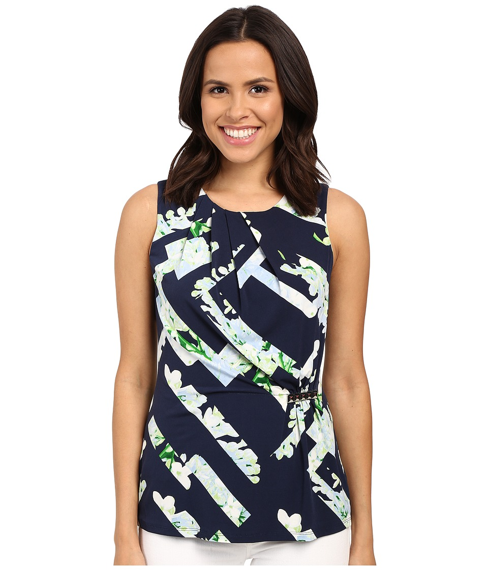 Calvin Klein - Printed Top w/ Bar Hardware (Twlight Multi) Women's Sleeveless