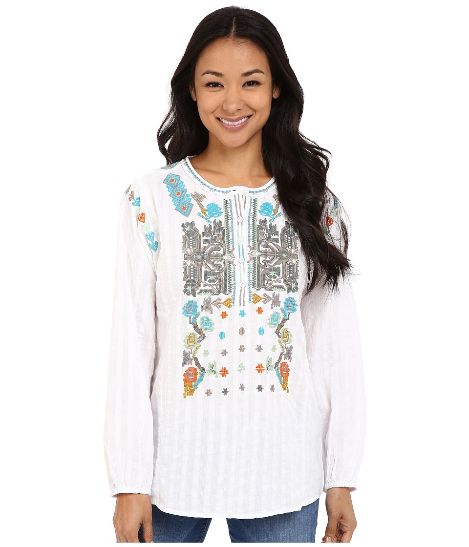 Dylan by True Grit - Embroidered Long Sleeve Tunic (White) Women's Long Sleeve Pullover