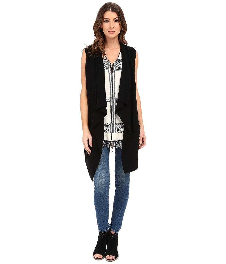 Dylan by True Grit - Long Drape Sweater Vest (Black) Women's Sweater