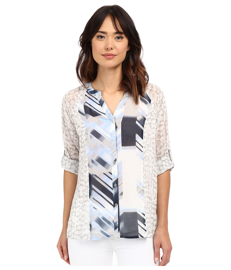 Calvin Klein - Mixed Print Roll Sleeve Blouse (Dove Multi) Women's Blouse