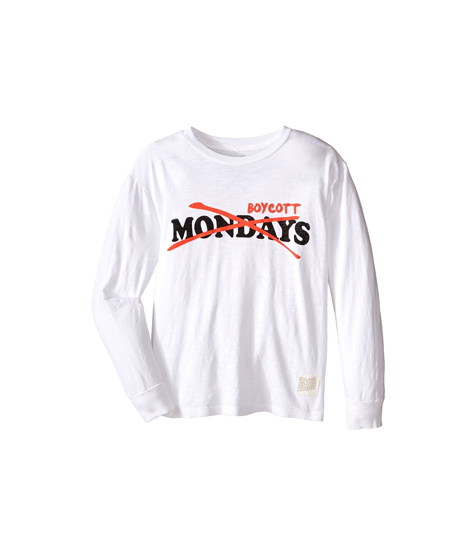 The Original Retro Brand Kids - Long Sleeve Slub Boycott Mondays Tee (Big Kids) (Slub White) Boy's T Shirt