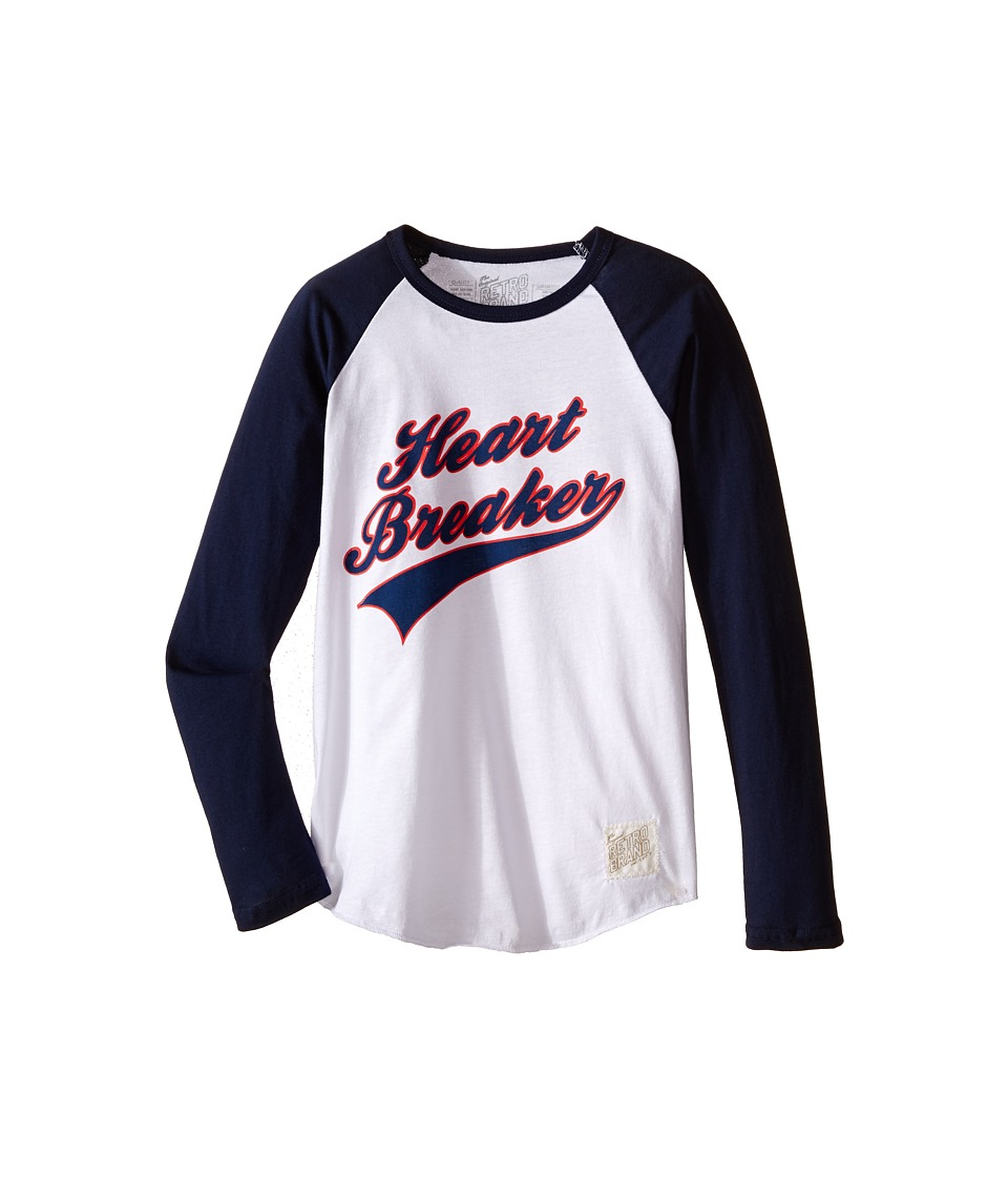The Original Retro Brand Kids - Long Sleeve Raglan Heart Breaker Tee (Big Kids) (White/Navy) Boy's T Shirt