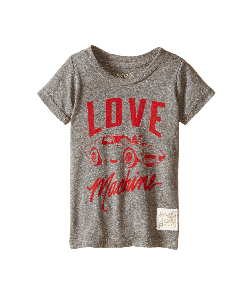 The Original Retro Brand Kids - Tri-Blend Love Machine Short Sleeve Tee (Toddler) (Streaky Grey) Boy