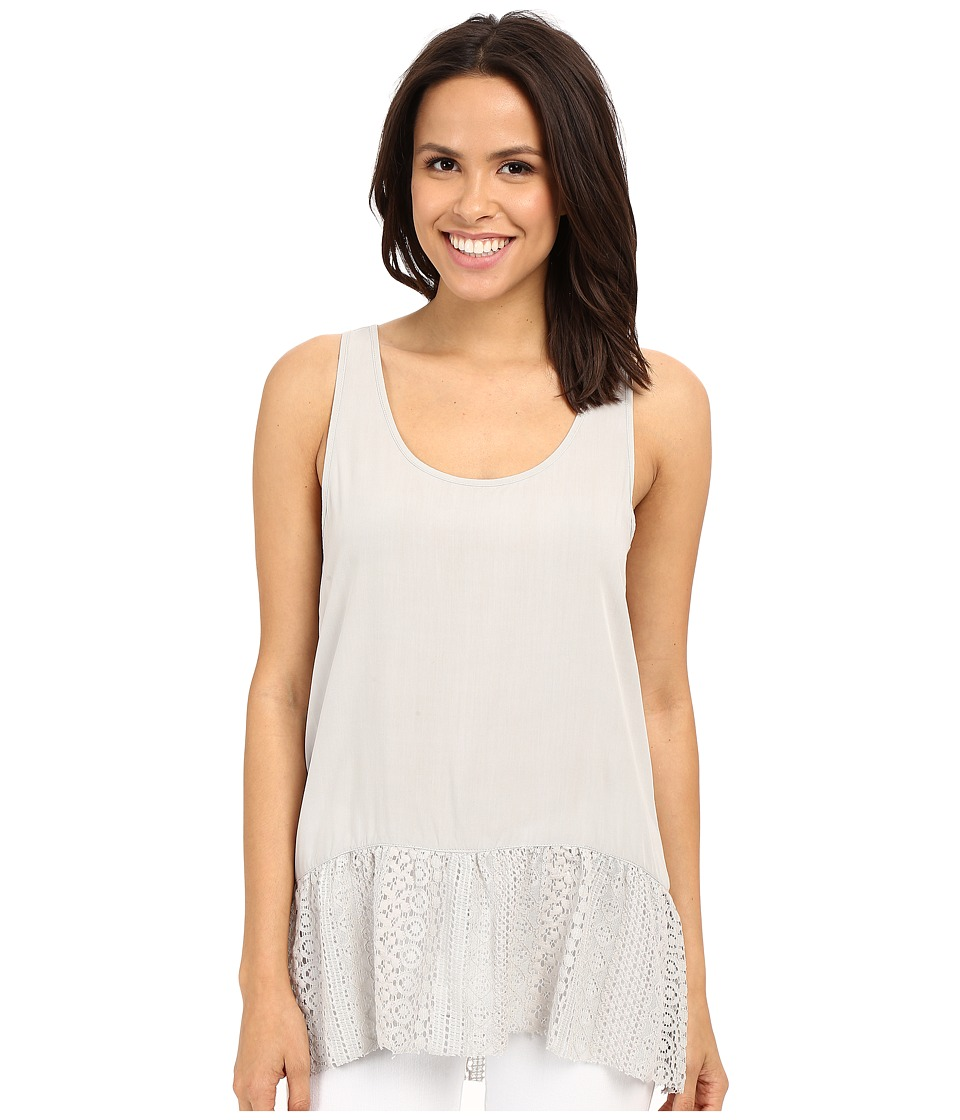 Dylan by True Grit - Dreamcatcher Flirty Tank Top w/ Lace Border (Smoke) Women's Sleeveless