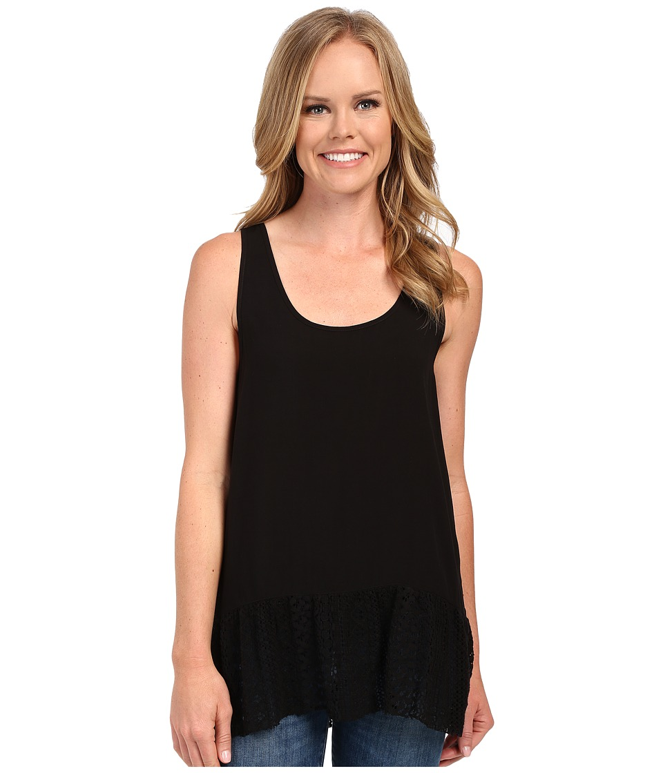 Dylan by True Grit - Dreamcatcher Flirty Tank Top w/ Lace Border (Black) Women's Sleeveless