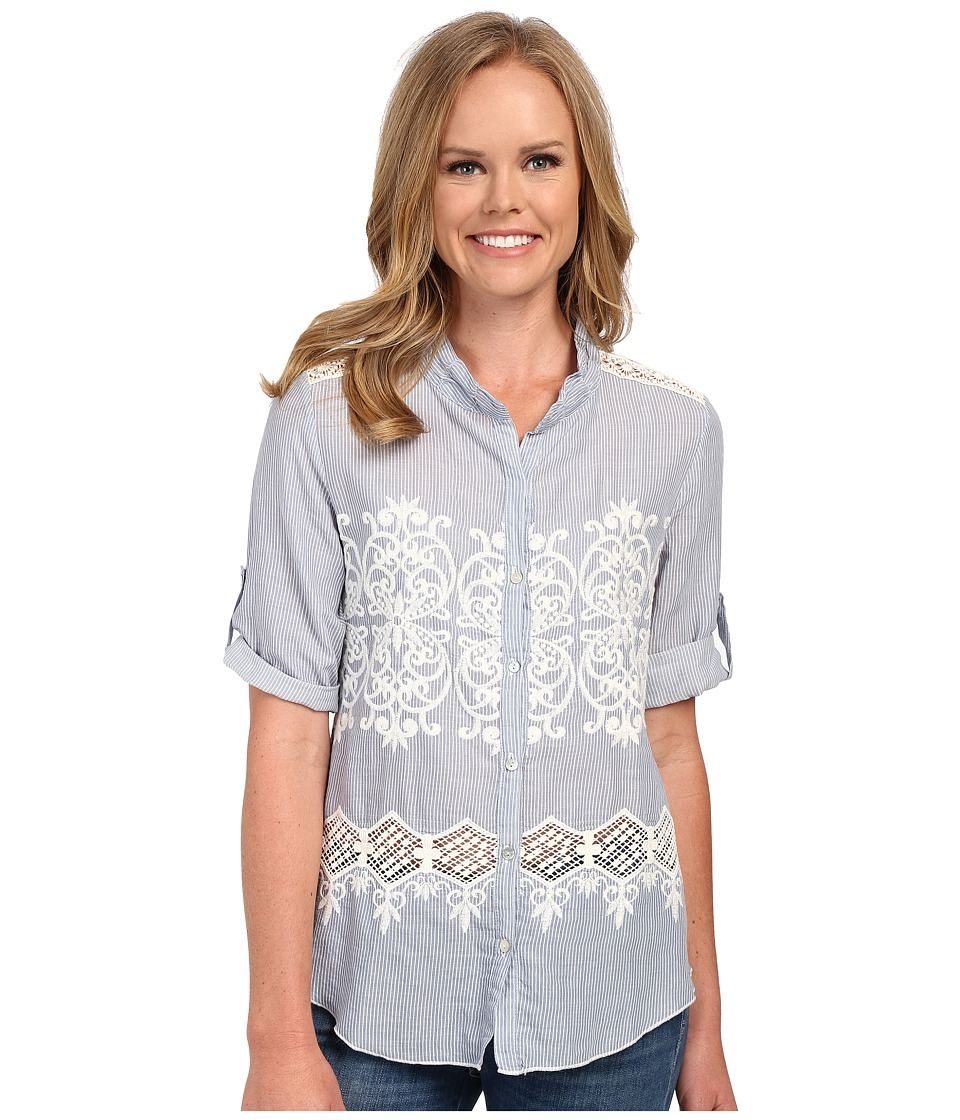 Dylan by True Grit - Chambray and White Embroidered 3/4 Roll Sleeve (Chambray) Women's Long Sleeve Button Up