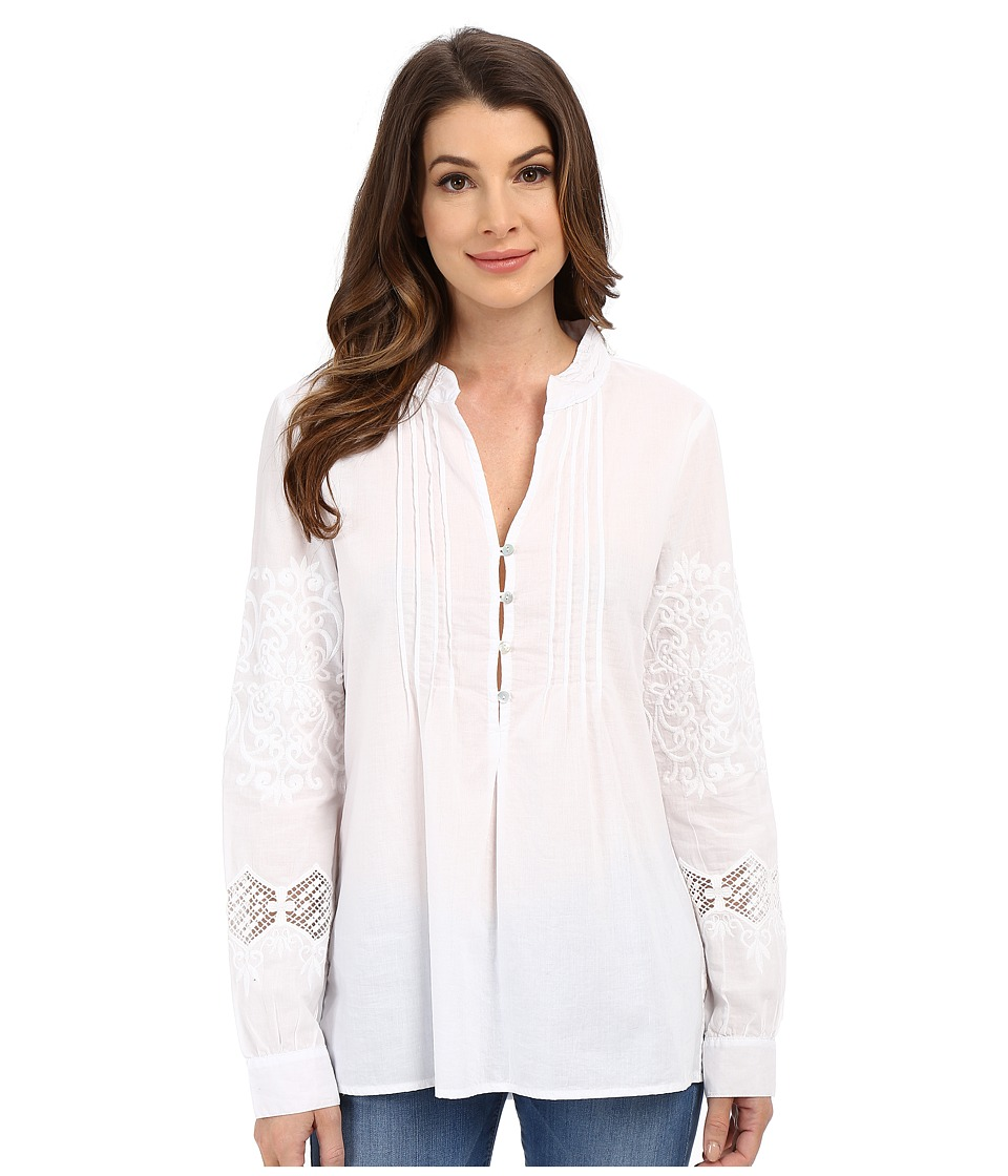 Dylan by True Grit - Embroidered Long Sleeve Shirt (White) Women's Blouse