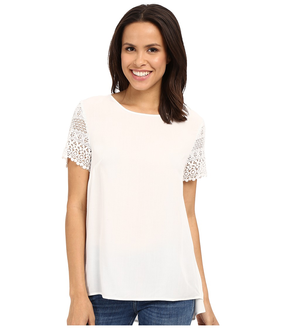 Dylan by True Grit - Dreamcatcher Short Sleeve Lace Sleeve Blouse (Perfect White) Women's Short Sleeve Pullover