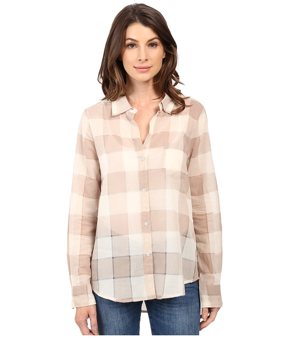 Dylan by True Grit - Sheer Buffalo Plaid One-Pocket Blouse (Vintage Khaki) Women's Blouse