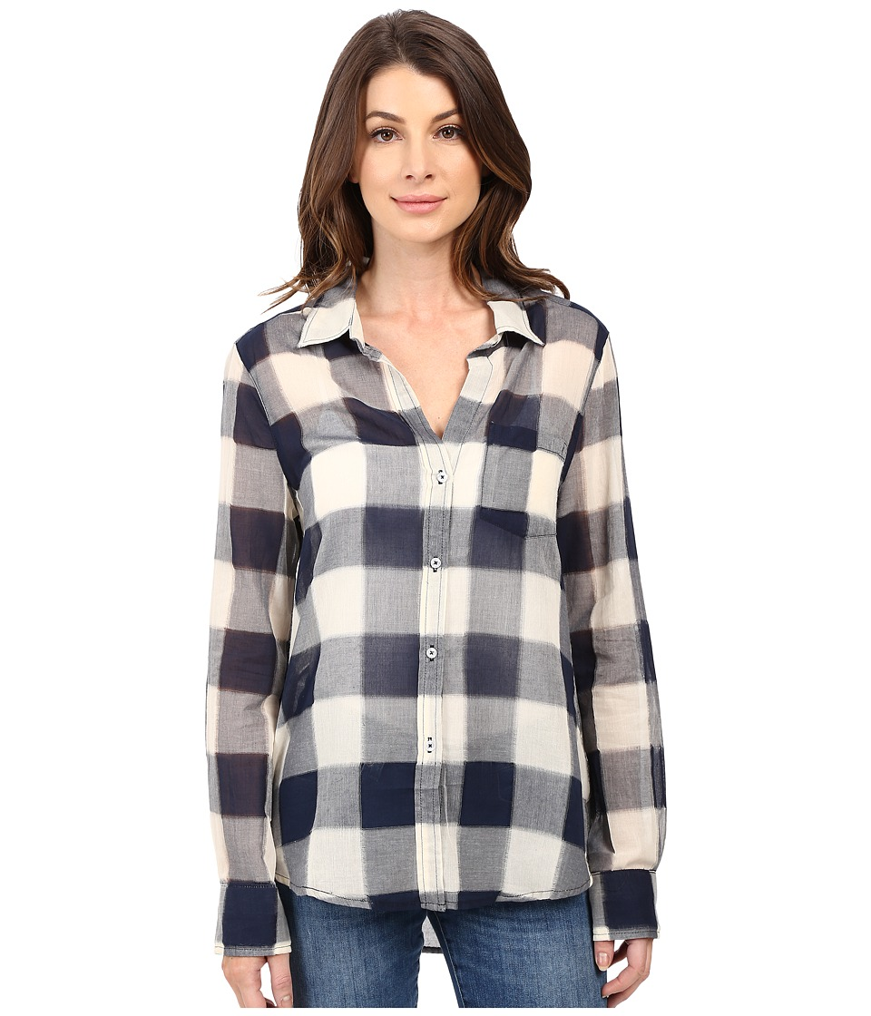 Dylan by True Grit - Sheer Buffalo Plaid One-Pocket Blouse (Indigo) Women's Blouse