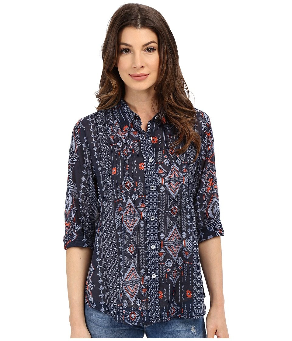 Dylan by True Grit - True Tribal Long Sleeve Pintuck Blouse (Indigo) Women's Blouse