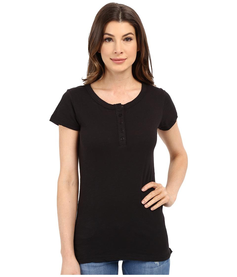 Dylan by True Grit - Soft Slub Short Sleeve Button Henley Tee (Black) Women's T Shirt