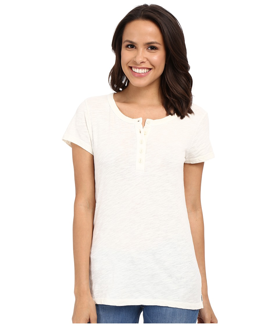 Dylan by True Grit - Soft Slub Short Sleeve Button Henley Tee (Perfect Natural) Women's T Shirt